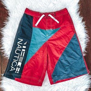 Nautica Boy's Red Blue Swim Trunk Board Shorts L